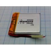 АККУМУЛЯТОР LP 303030-PCM (Li-POL) 3,7В 280мА/ч (210мА/ч)