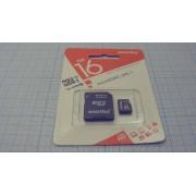 КАРТА ПАМЯТИ micro Smartbuy с переход. 16Гб 10класс