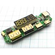 ПЛАТА заряда-разряда Powerbank  (аналог 5В макс 2.4А, ЖК-экран) 2хUSB, microUSB,TYPE-C