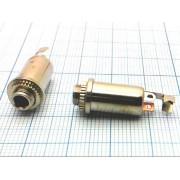 ГНЕЗДО 3,5 мм металл (трубка) №1-091 стерео, на корпус с гайкой,