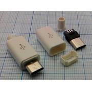 ВИЛКА USB micro B-5PBW на кабель в белом корпусе 5 pin