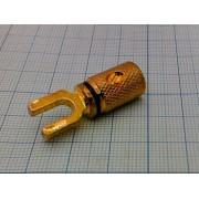 ВИЛКА акустическая металл, золото, на кабель,винт №1-690G