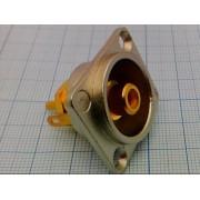 ГНЕЗДО RCA (желтый) №1-292GYE на корпус с фланцем металл.