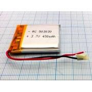 АККУМУЛЯТОР LP 503030-PCM (Li-POL) 3,7В 500мА/ч (450мА/ч)